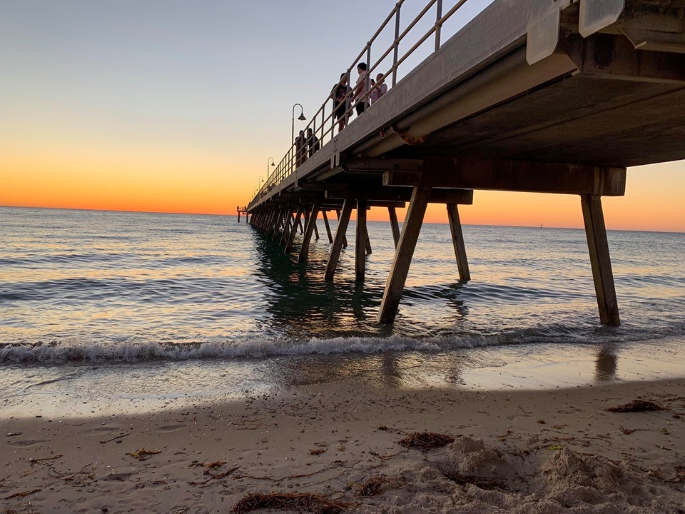 the jetty at glenelg sunset